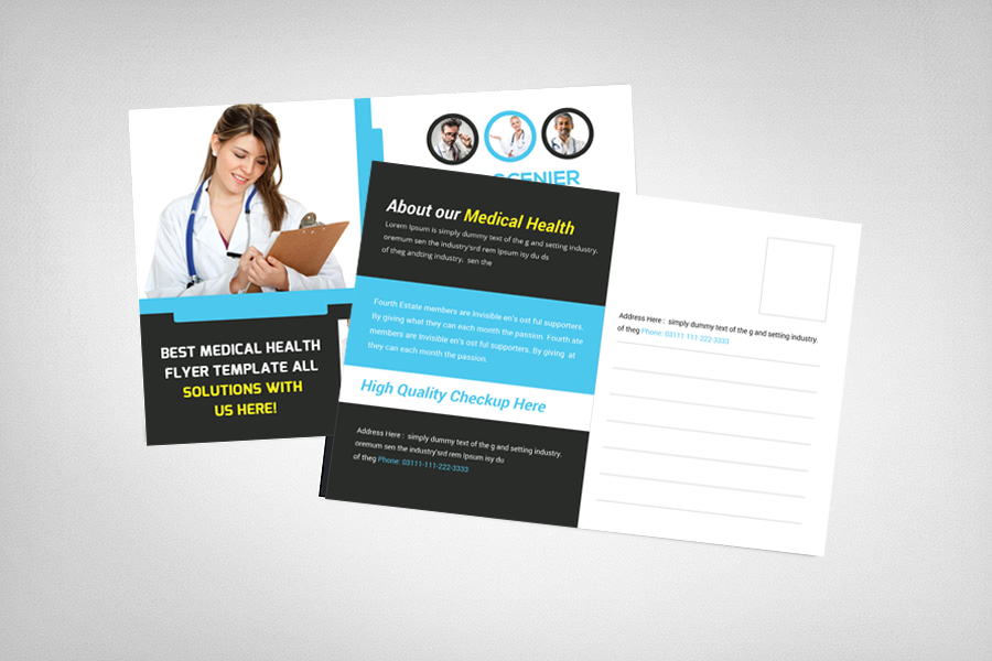 Medical Health Postcard Template example image 2