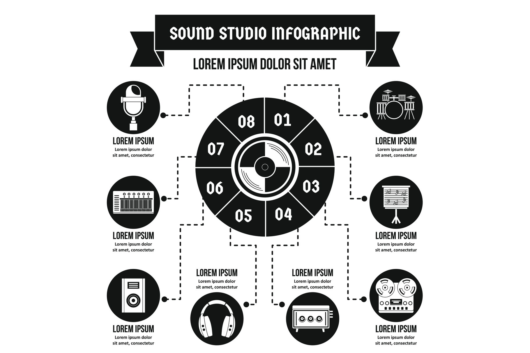 Sound studio infographic concept, simple style example image 1