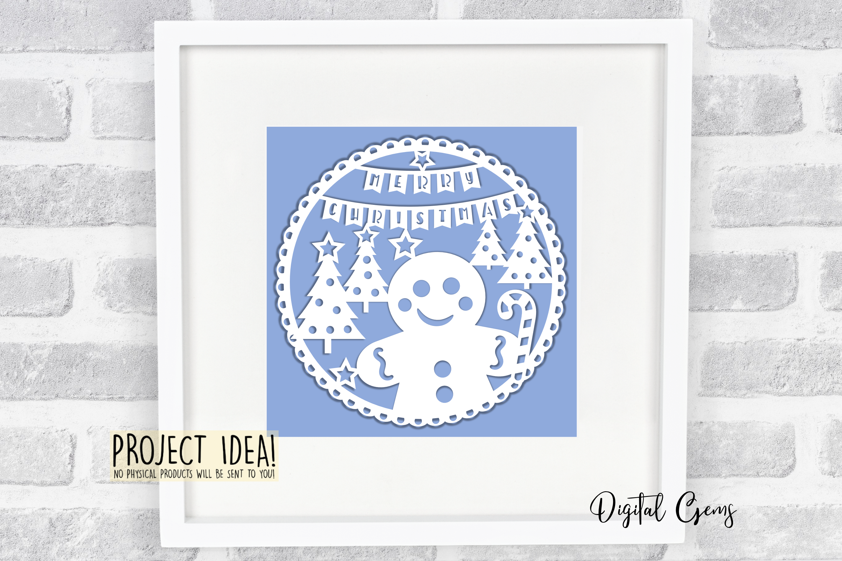 Christmas Gingerbread paper cut design SVG / DXF / EPS files example image 6