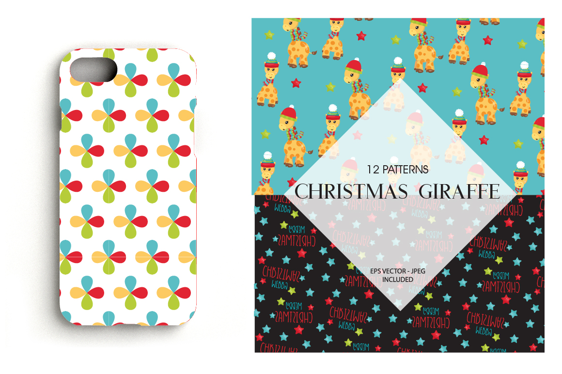 Christmas Giraffes Pattern collection, vector ai, example image 4