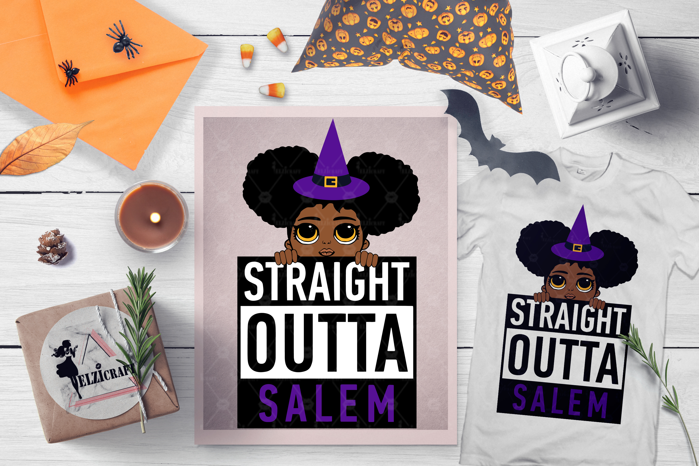 Halloween Straight Outta Salem Peeking Afro Girl Witch SVG example image 1