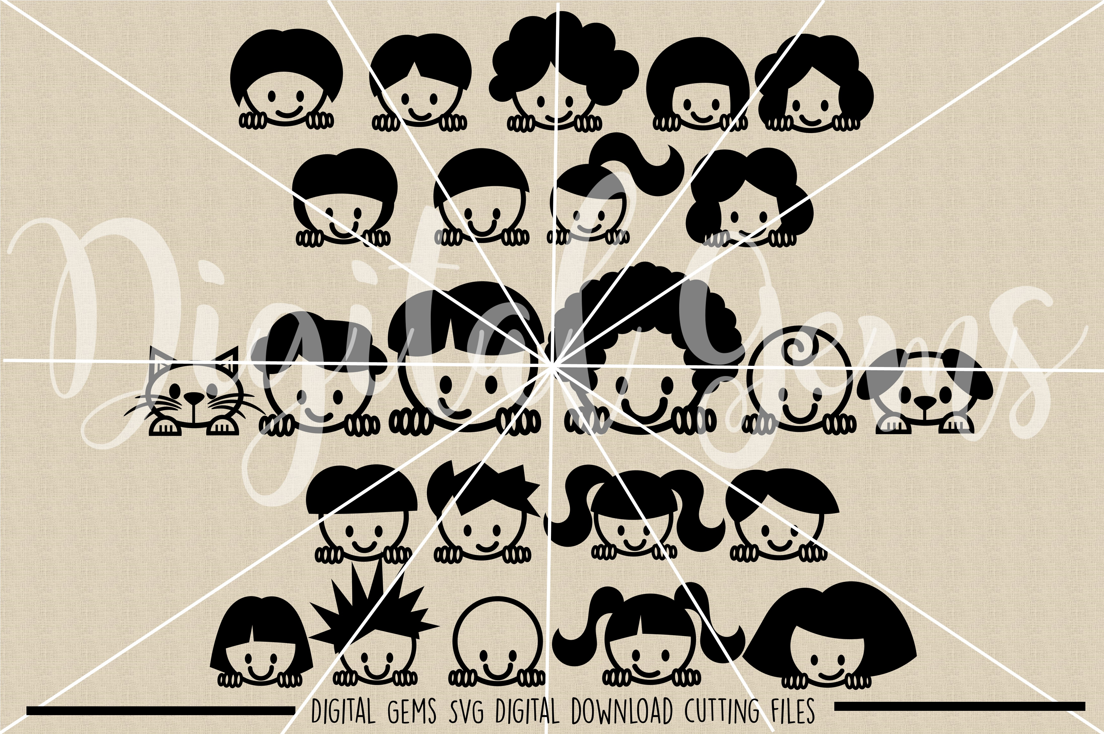 Peek a boo People SVG / DXF / EPS / PNG Files example image 2