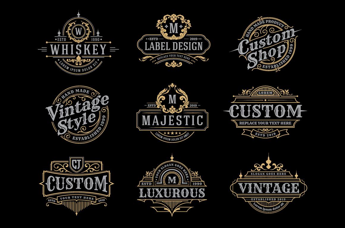Retro Vintage Frame Logo Template example image 2