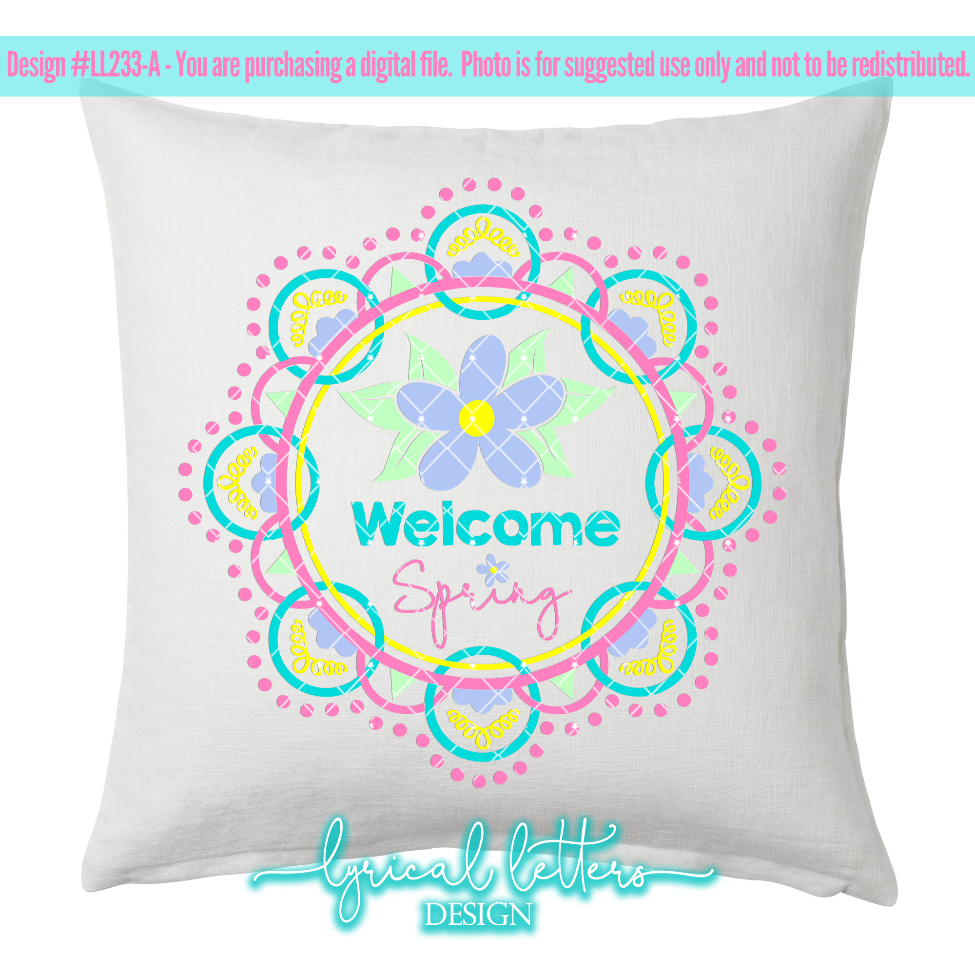 Welcome Spring Wreath SVG DXF FCM LL233A example image 3