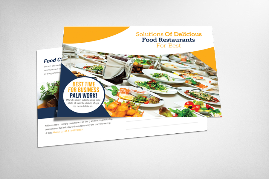 Food Catering Postcard Template example image 1