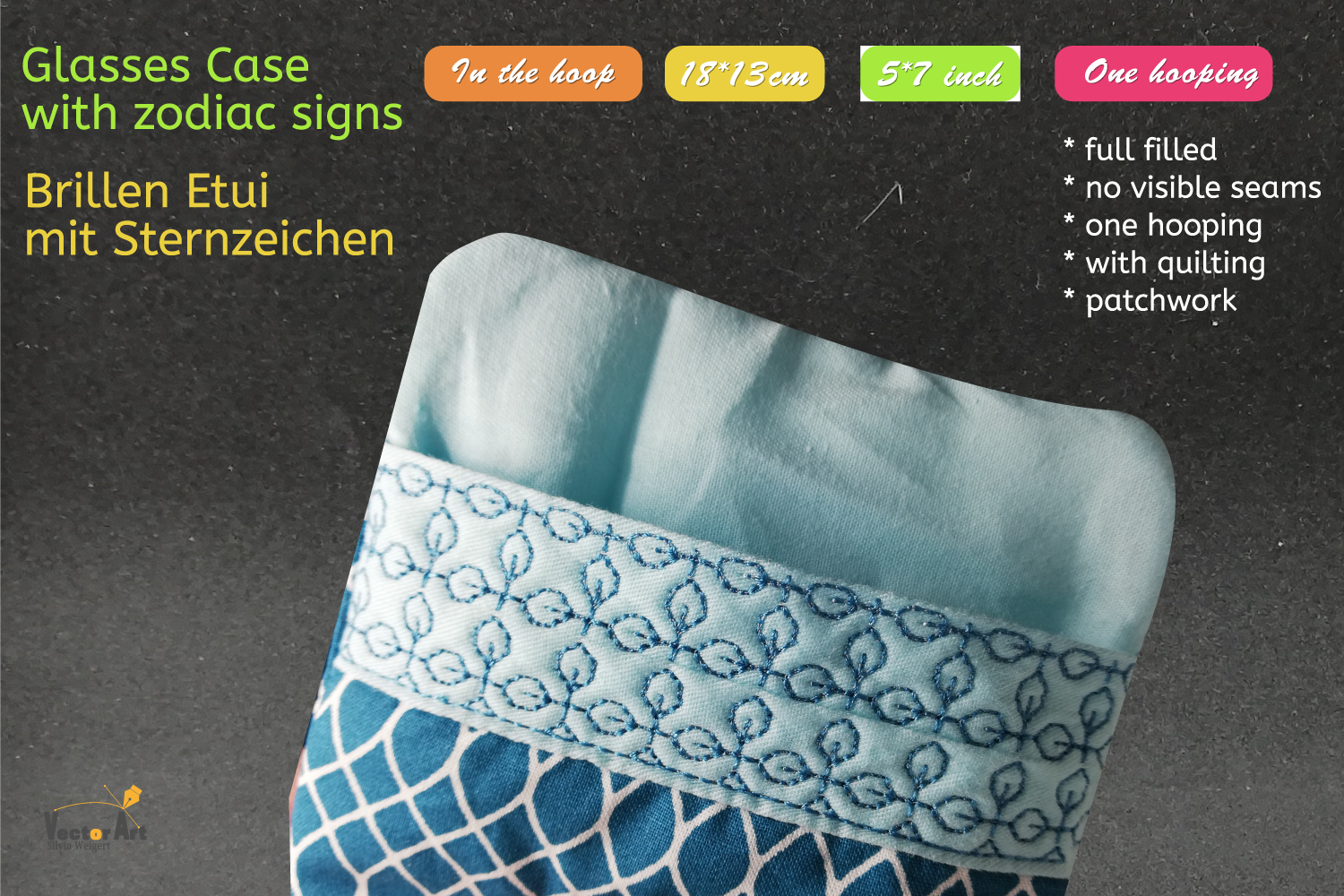 ITH - Glasses Case with Zodiac Aquarius - Embroidery file example image 2