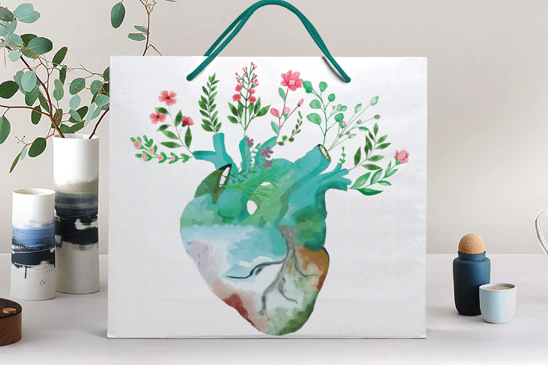 Floral anatomical human heart gift art. Valentine's day png. example image 10