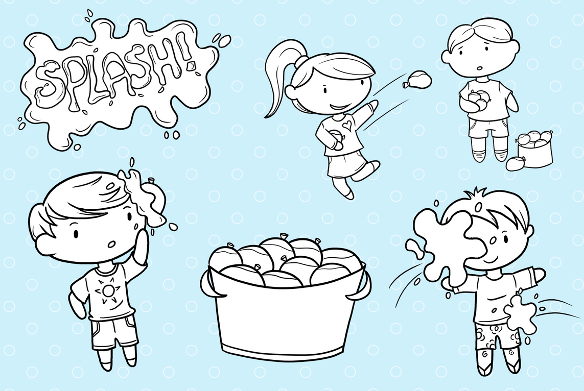 Water Balloon Fight Digital Stamps example image 3