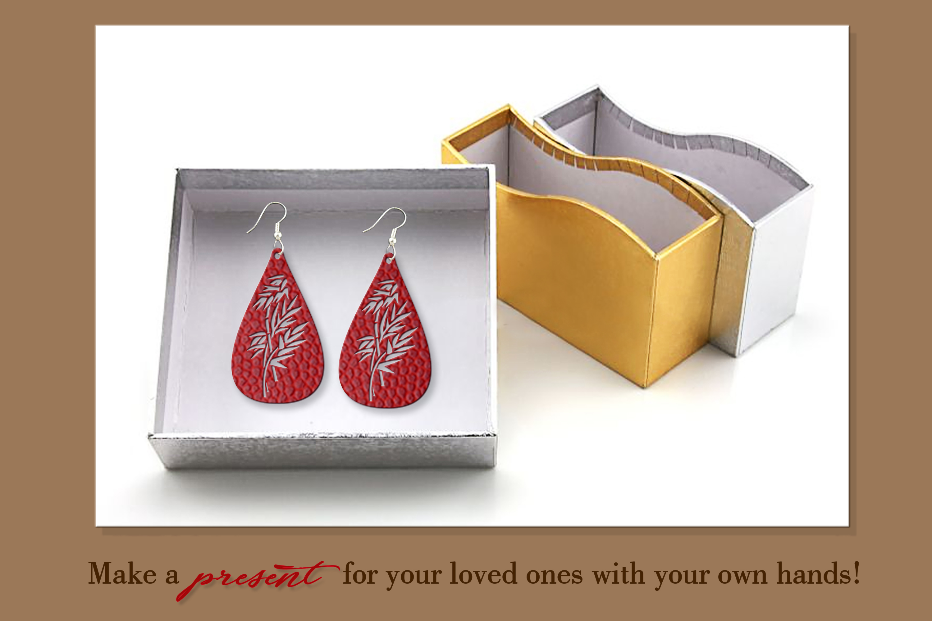 9 Leather earring svg Teardrop earring Nature earrings svg example image 8