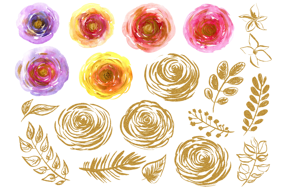 Watercolor & gold flowers, leaves example image 2