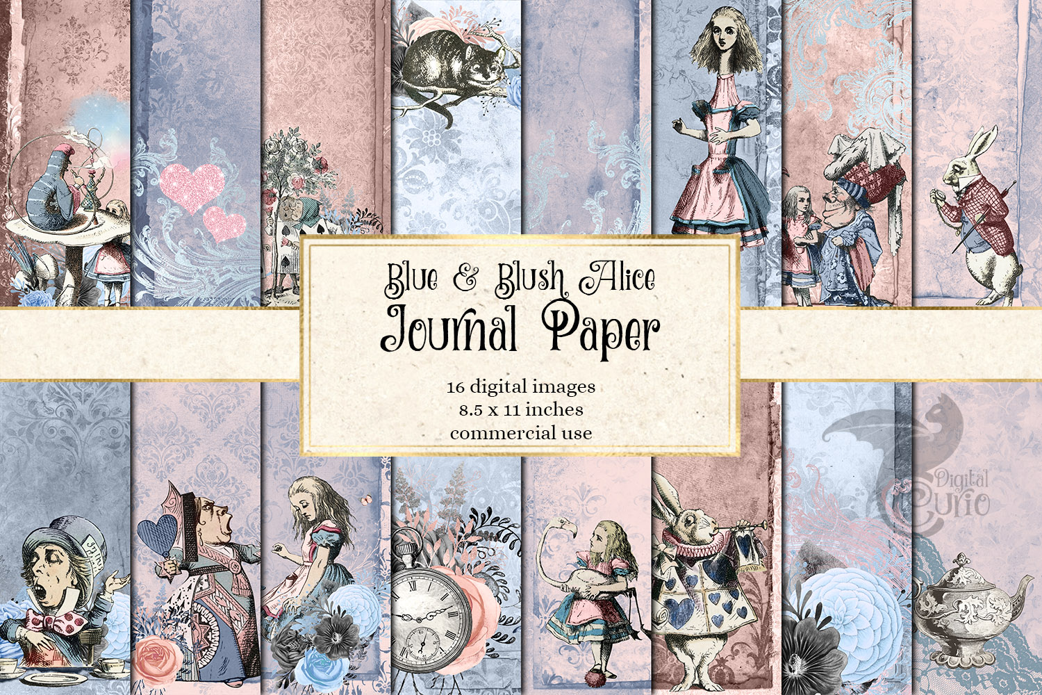 Dusty Blue and Blush Pink Alice in Wonderland Journal Paper example image 1