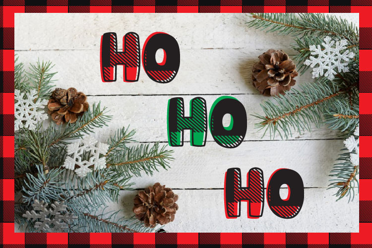Christmas buffalo plaid font with doodles elements example image 5