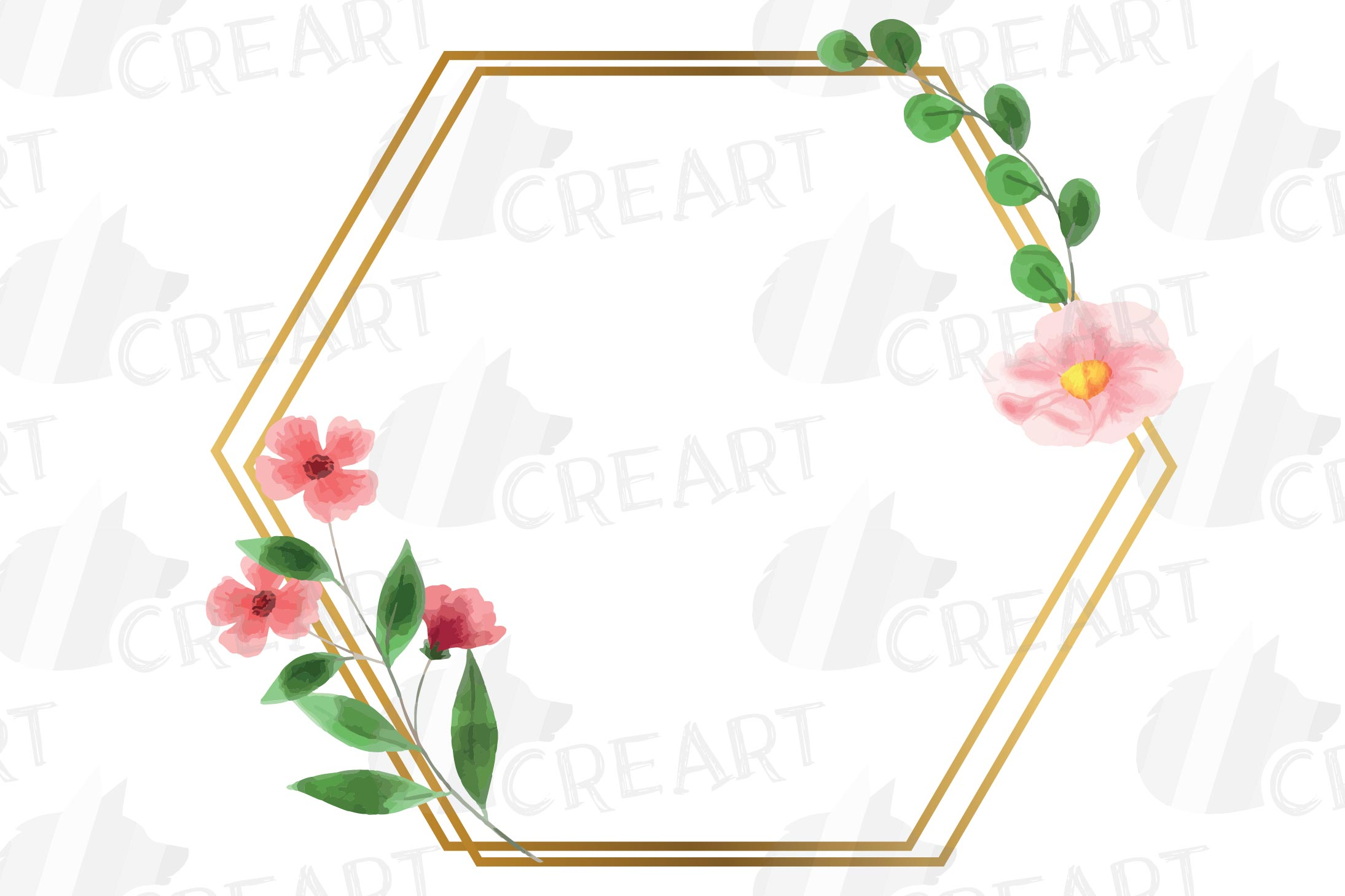 Golden Floral Frames Clip Art. Wedding geometric borders png example image 10