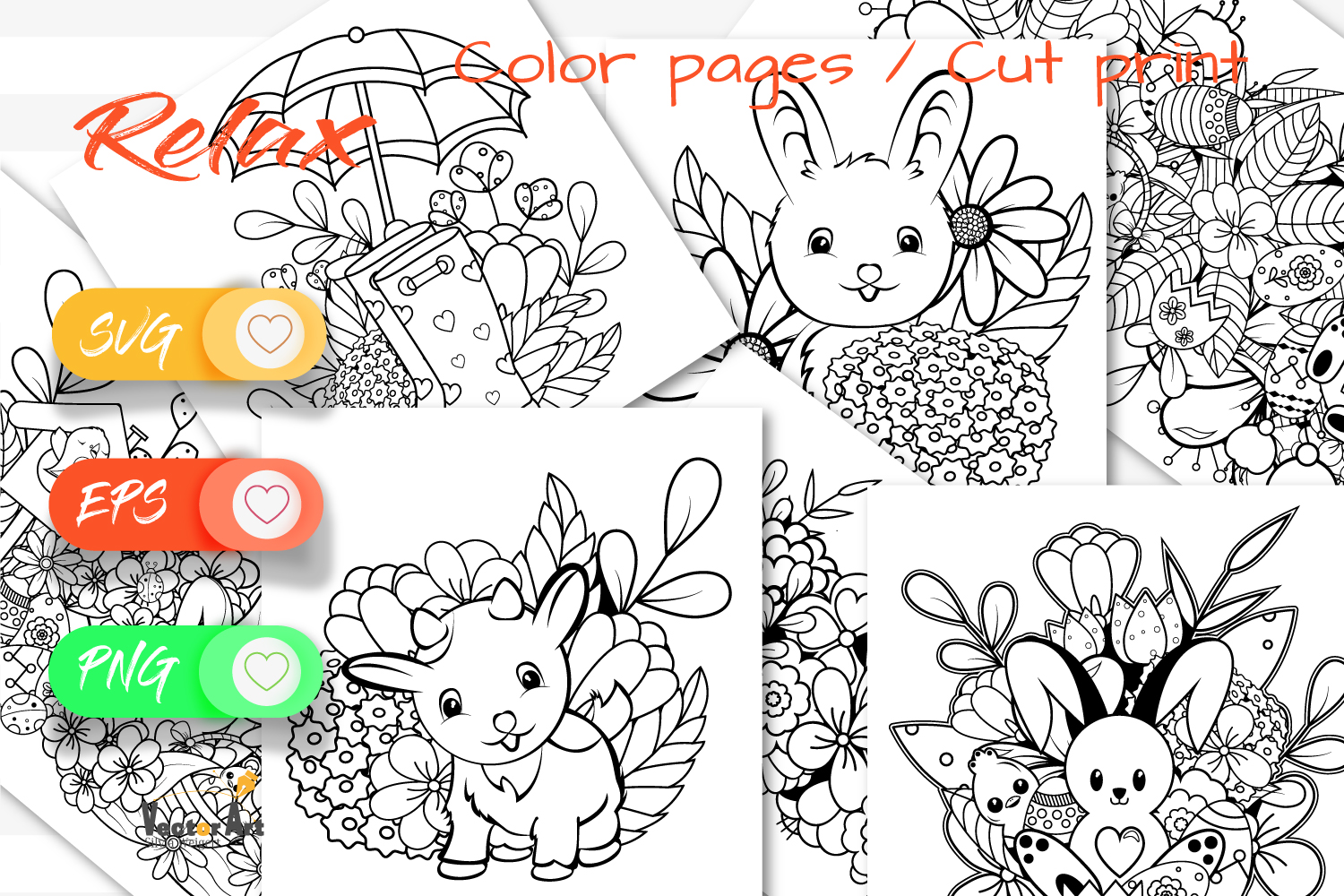 7x Easter and Spring - Mini Bundle - SVG and Coloring Page example image 1