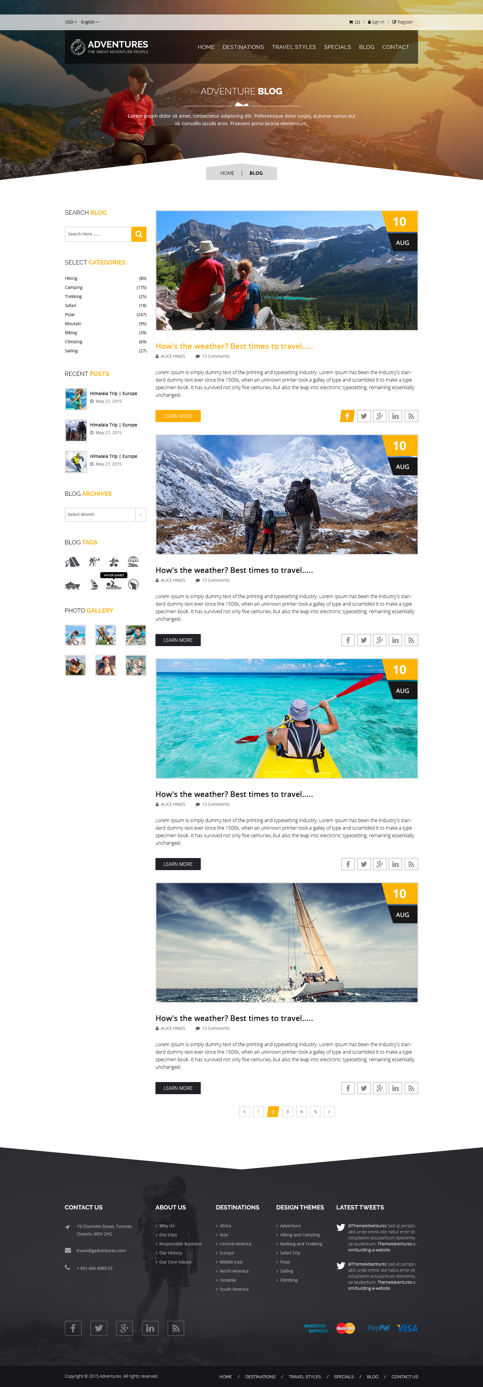 Adventures and Tour PSD Template example image 11