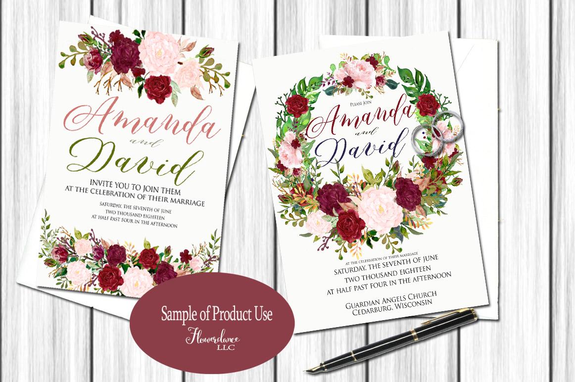 Watercolor Marsala and Blush Bundle for Weddings example image 7