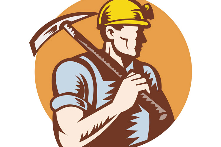 coal miner at work with pick ax example image 1