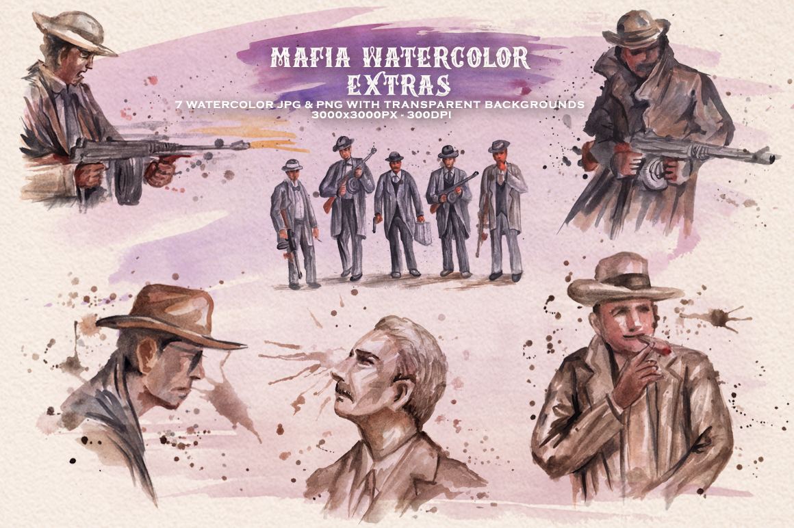 Mafia Font and Watercolor example image 7