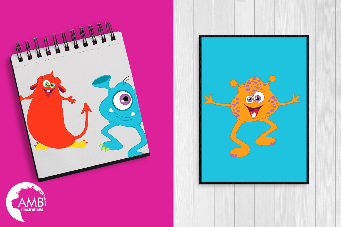 Mini monsters, cute monsters clipart, graphics and illustration AMB-552 example image 2