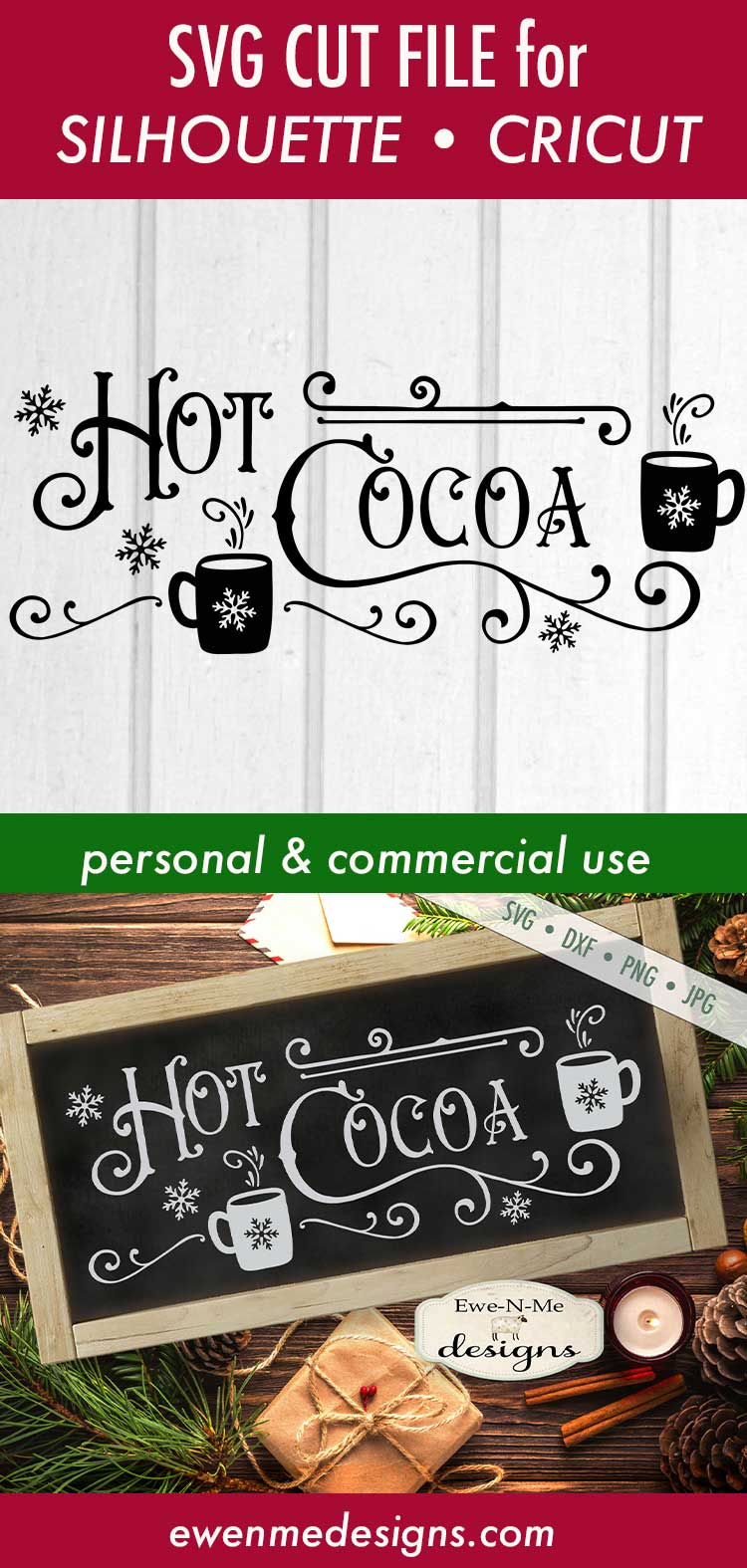 Hot Cocoa - Cocoa Mugs - Winter Christmas - SVG DXF Files example image 3