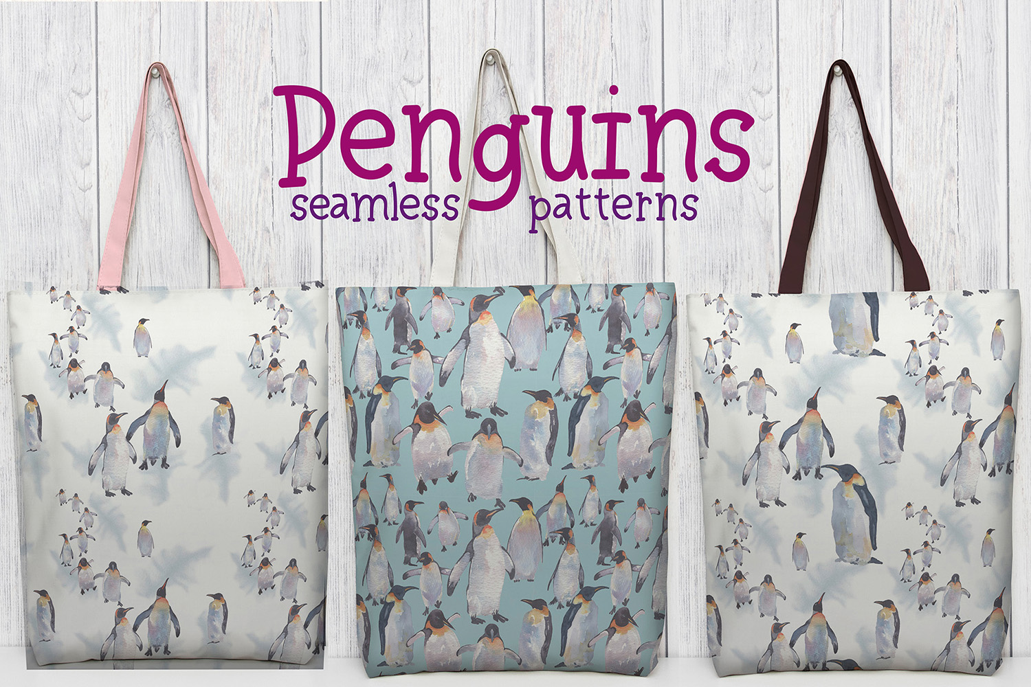 Penguins watercolor clipart example image 8