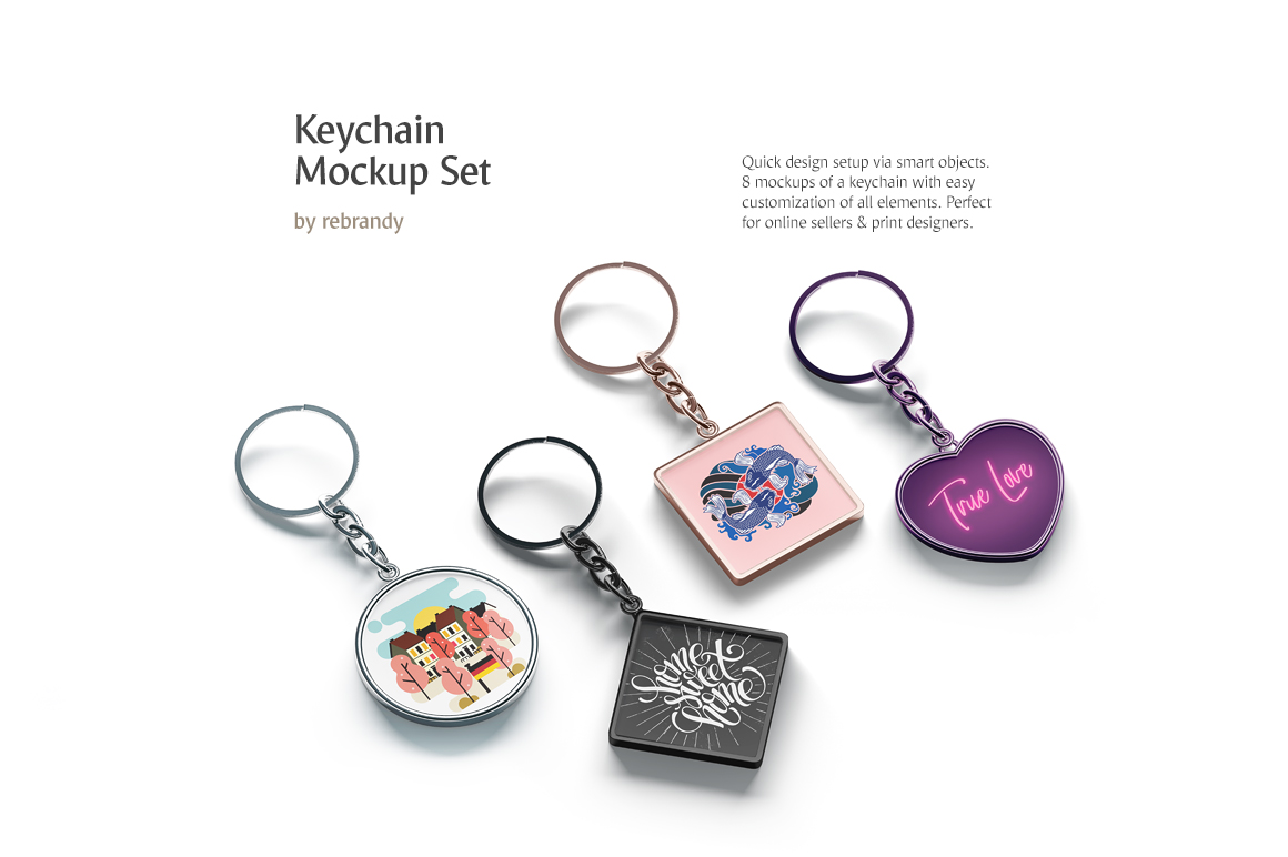 Keychain Mockups Set example image 1
