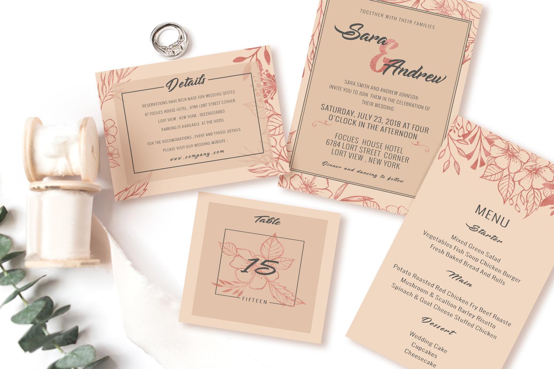 Pink floral wedding invitation set example image 1