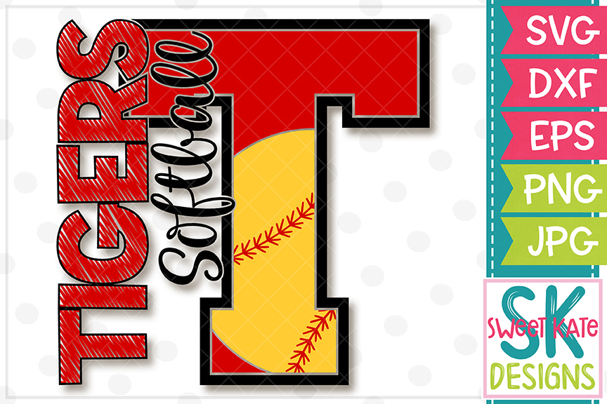 T Tigers Softball SVG DXF EPS PNG JPG example image 4