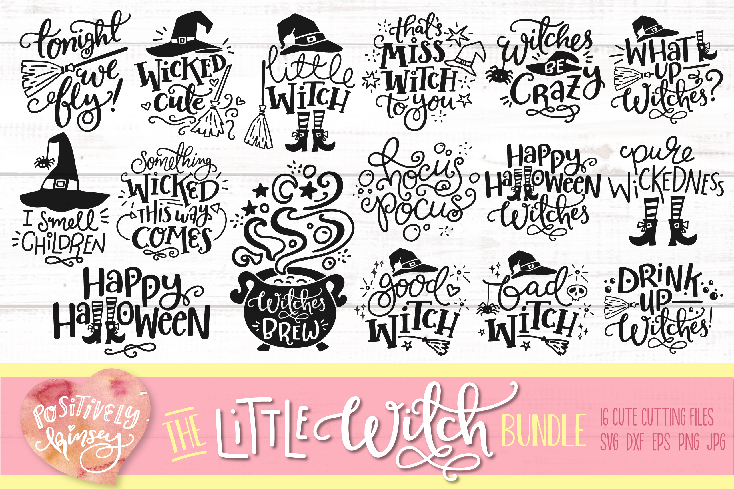 The Little Witch SVG Bundle, Halloween SVG DXF PNG EPS Files example image 1