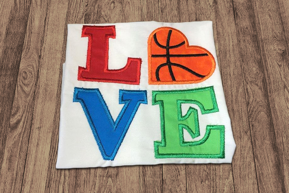 LOVE Basketball Applique Embroidery Design example image 2