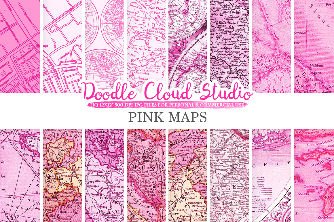 Pink Vintage Maps digital paper, Old World Map, City Map, Nautical Maps, geographic map textures, Instant Download Personal & Commercial Use example image 1