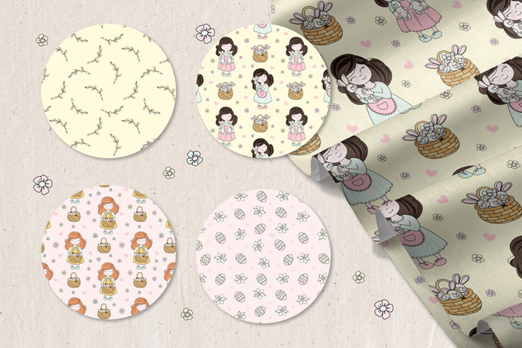 HAPPY EASTER Seamless Pattern Vector Illustration Set example image 12