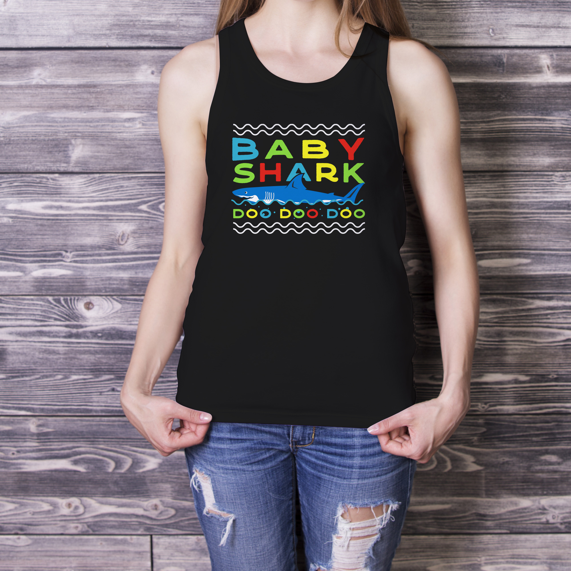 Retro Daddy Shark Print / Fathers Day T-Shirt, Family SVG example image 5