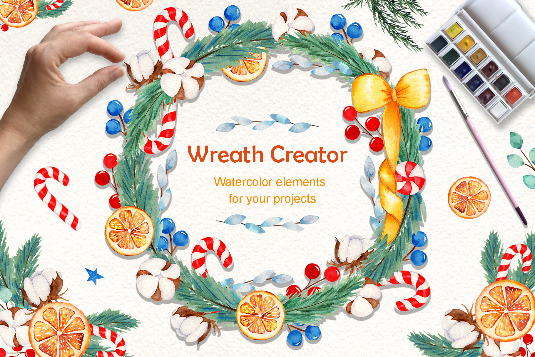 Wreath Creator Watercolor Clipart example image 1