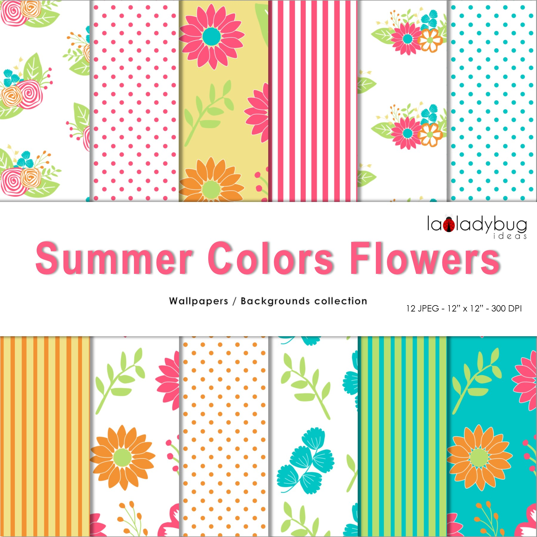 Summer colors flowers. Clip art and digital papers collection. example image 5
