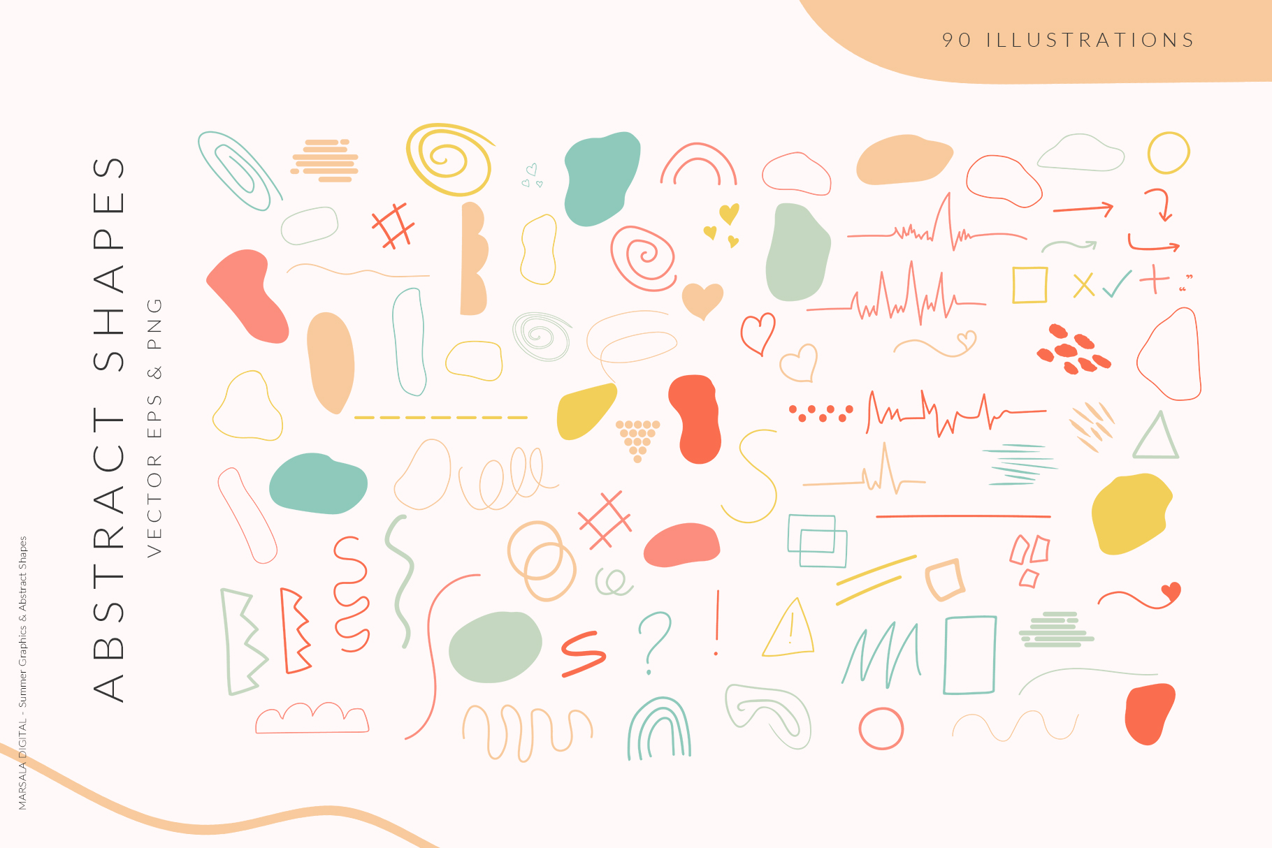 Abstract Shapes & Summer Line Art Vector Cliparts example image 7