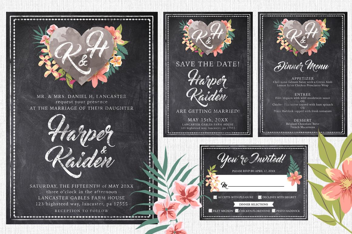Chalk Floral Wedding Invite Bundle example image 2