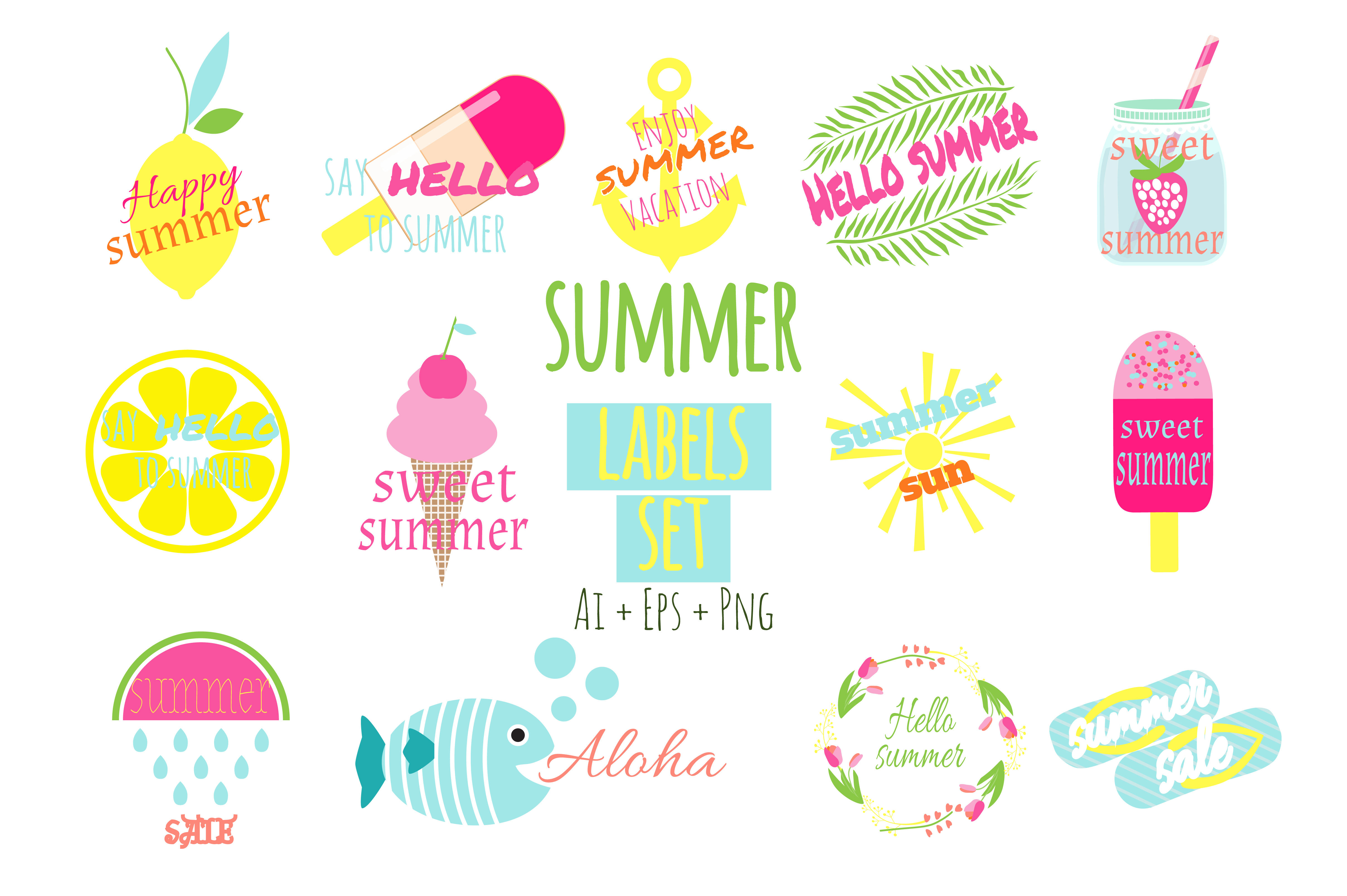 Summer Labels Vector Ai+Eps+Png example image 1