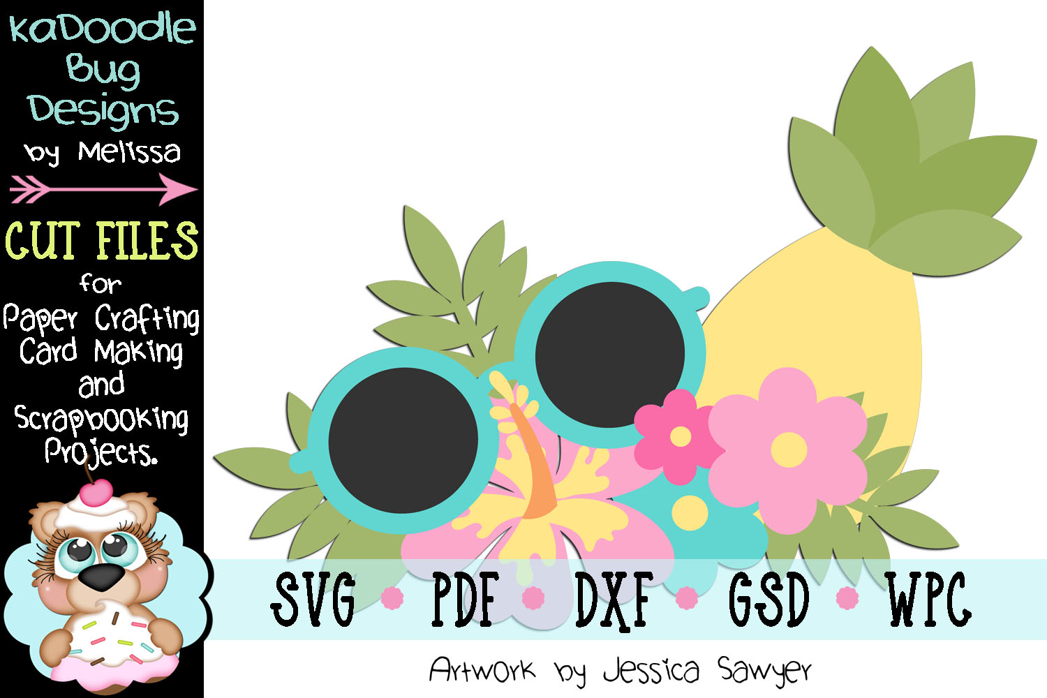 Summer Vibes Pineapple Cut File - SVG PDF DXF GSD WPC example image 1