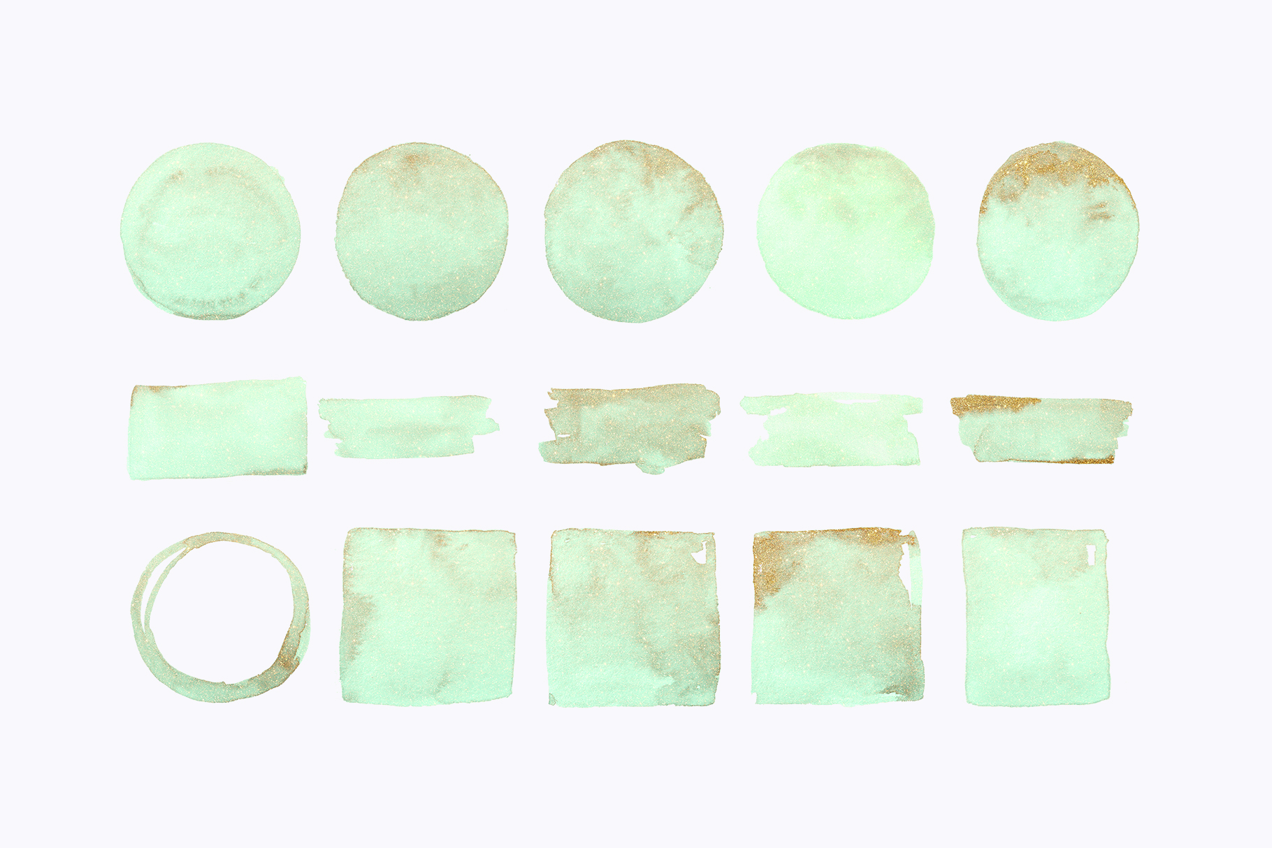 Gold glitter watercolor shapes, glitter lilac, green clipart example image 2