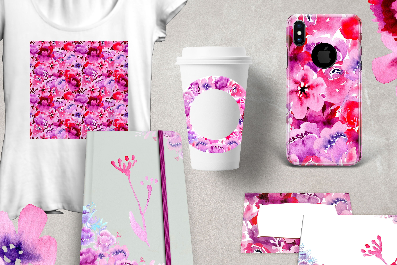 Flower garden Watercolor Clipart example image 6