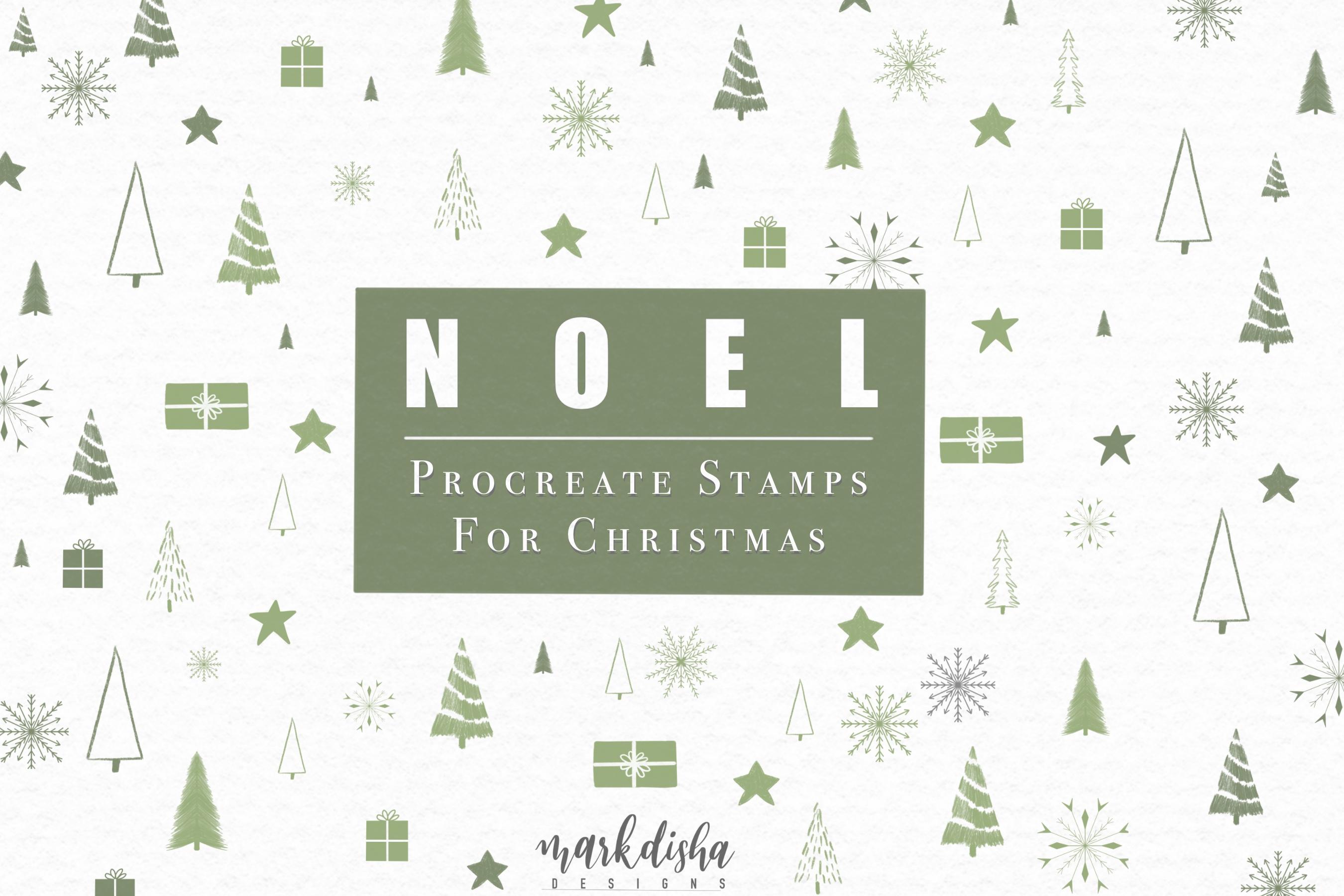 NOEL Procreate Christmas Elements Brush Stamps example image 1