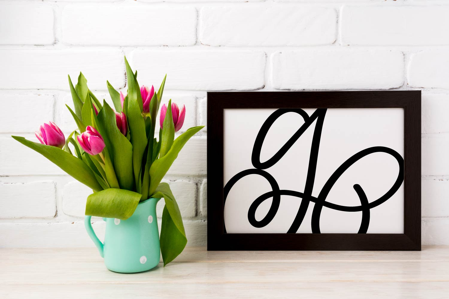 Scripty Monogram Font - With heart accents example image 2