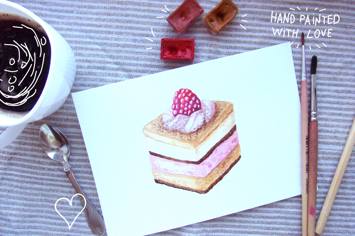 Watercolor Cakes Set example image 4