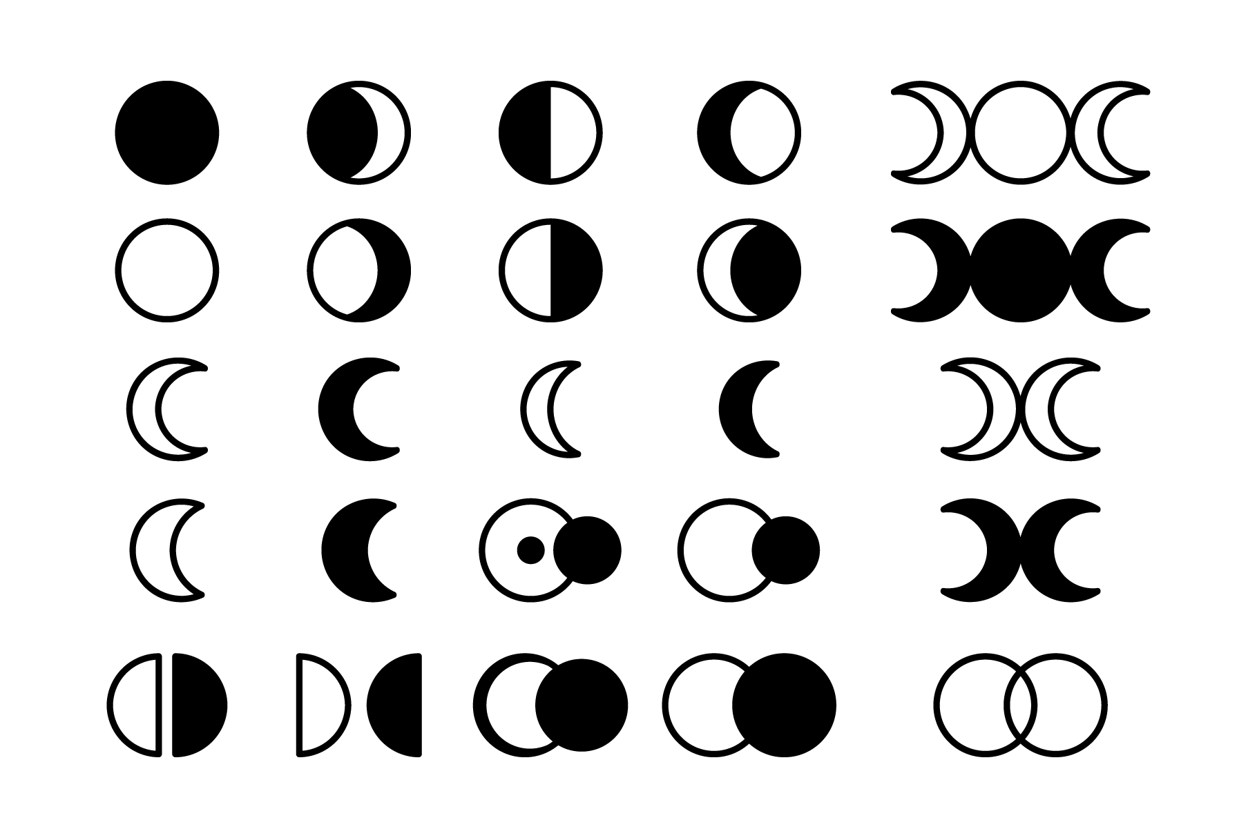 Moon Cycle Icons Clip Art Set example image 8
