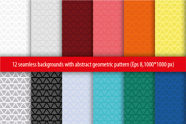 Set of 12 seamless vector background with abstract geometric pattern.  example image 1