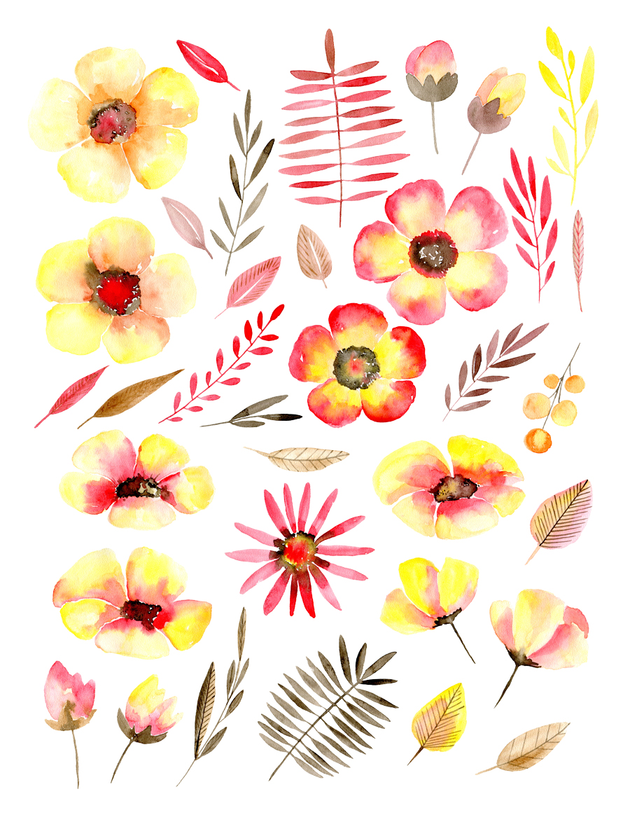 Watercolor yellow & red flowers example image 2