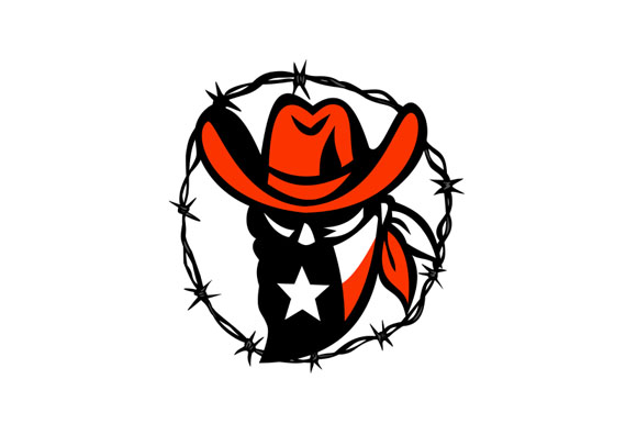 Texan Outlaw Texas Flag Barb Wire Icon example image 1