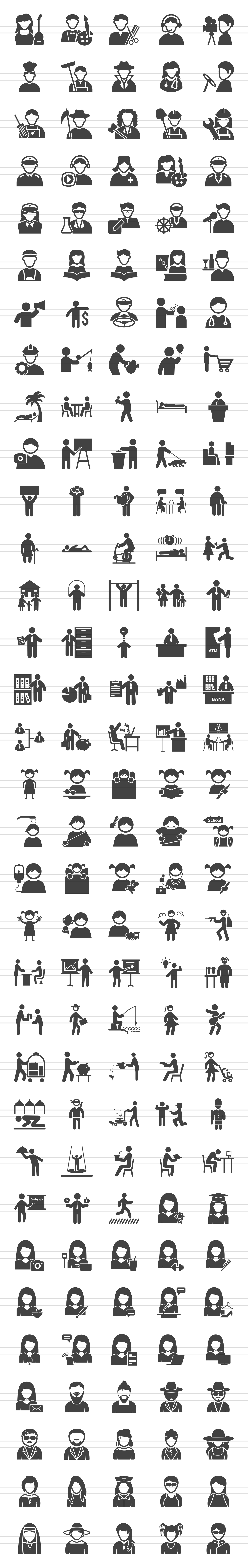 166 People Glyph Icons example image 2