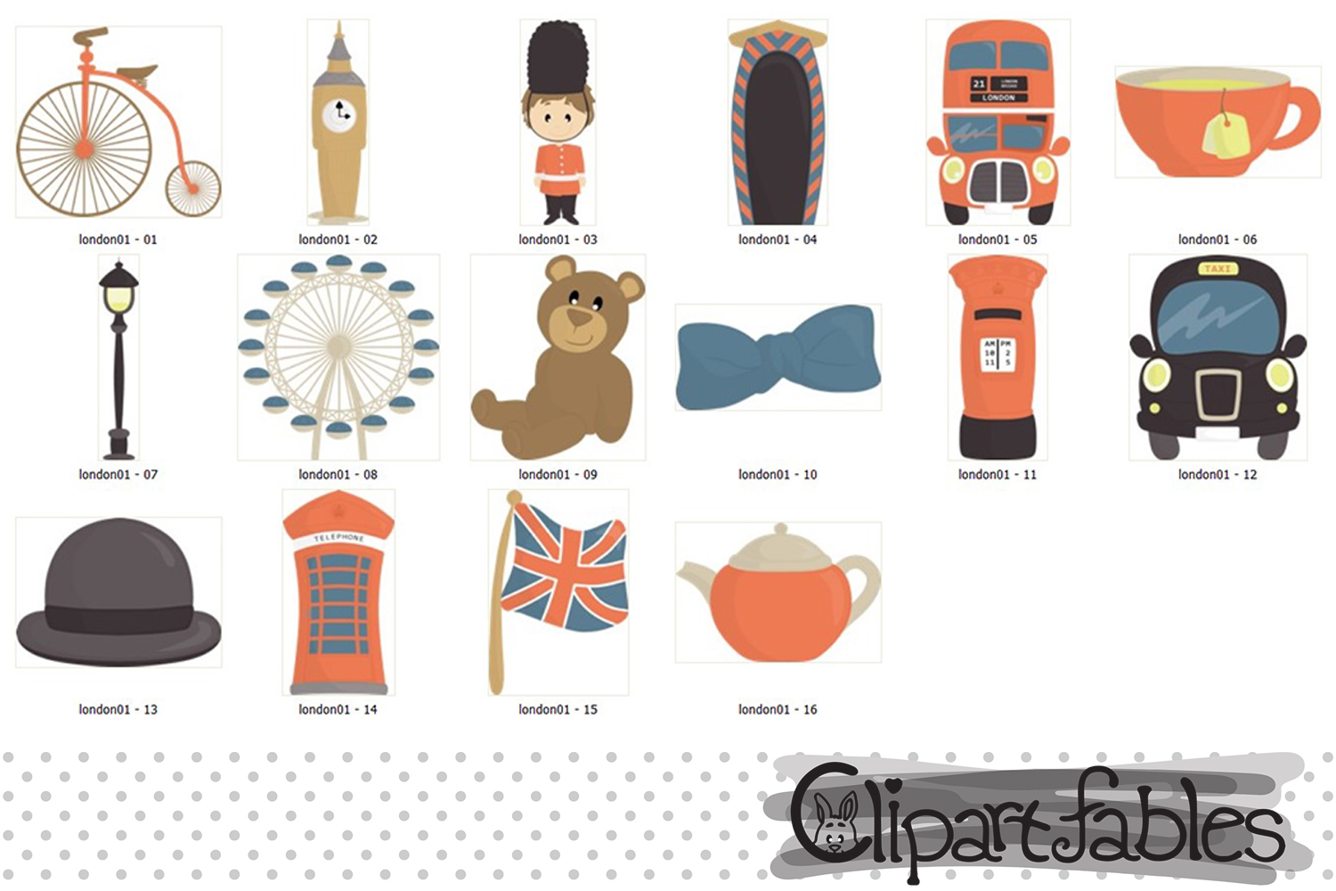 Cute London clipart, Europe clip art, travel art - instant example image 2